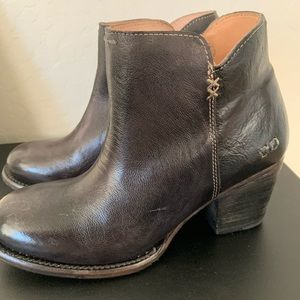 Bed Stu Yell Black Luxe Leather Ankle boots new